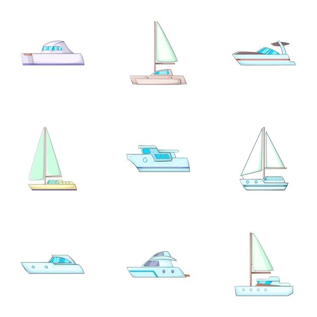 Conjunto de transporte marítimo, estilo cartoon Vetor Premium