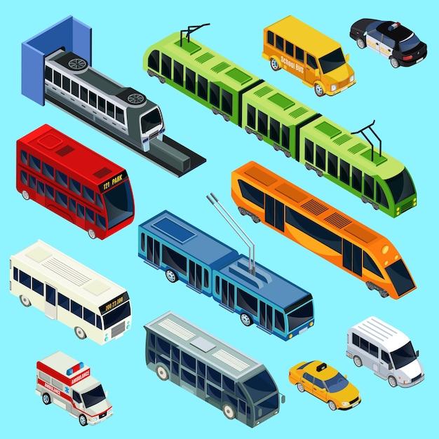 Conjunto de transporte público isométrico Vetor Premium