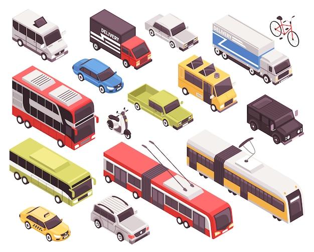 Conjunto de transporte público Vetor grátis