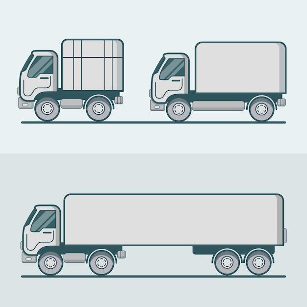 Conjunto de transporte rodoviário de camião camião furgão. contorno de traço multicolorido linear plano Vetor grátis