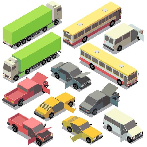 Conjunto de transporte urbano isométrico. carros com portas abertas, capuz isolado no fundo branco Vetor grátis