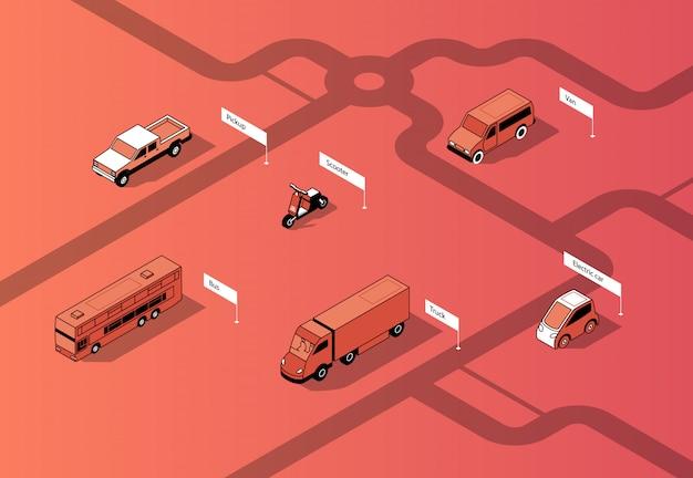 Conjunto de transporte urbano isométrico, carros Vetor grátis