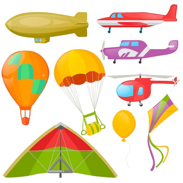 Conjunto de transporte voador - helicóptero, aeroplan. Vetor grátis