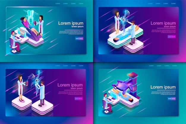 Conjunto de tratamento médico isométrico de banner para paciente Vetor Premium