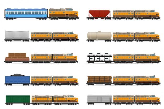 Conjunto de trem realista ferroviária com ilustração vetorial de locomotivas e vagões Vetor Premium