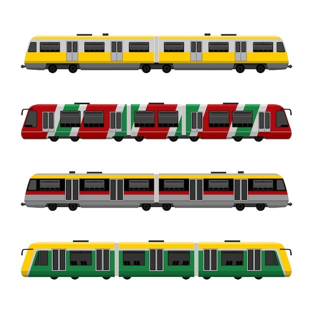 Conjunto de trens modernos metrô de alta velocidade da cidade Vetor Premium