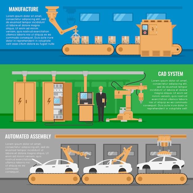 Conjunto de três banner de montagem automatizada horizontal com descrições do sistema cad de fabricação e ilustração vetorial de montagem automatizada Vetor grátis