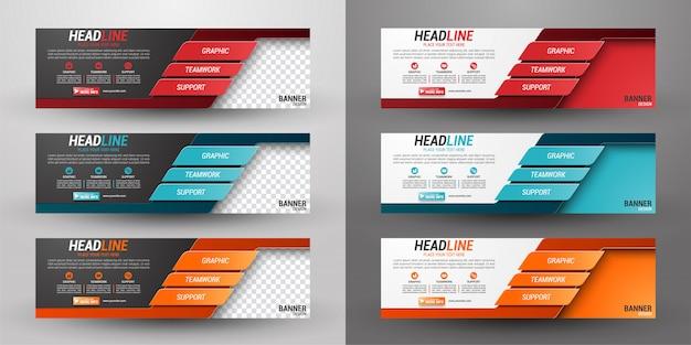 Conjunto de três banner de negócios Vetor Premium