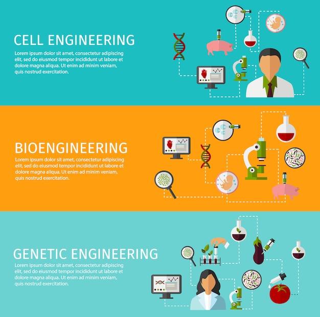 Conjunto de três banners de biotecnologia Vetor grátis