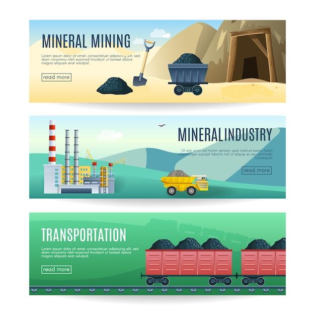 Conjunto de três banners horizontais de indústria de mineração mineral e transporte Vetor Premium