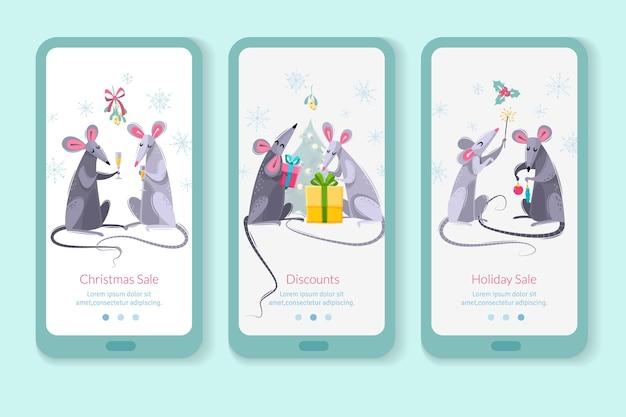 Conjunto de três banners verticais com personagens de desenhos animados ratos ratos Vetor Premium