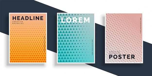 Conjunto de três cartazes panfletos com design padrão Vetor grátis