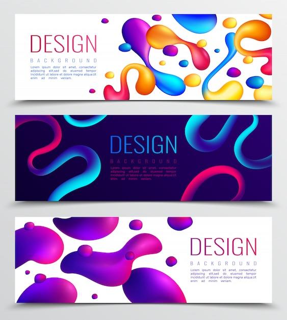 Conjunto de três design abstrato holográfico de néon fluido Vetor grátis