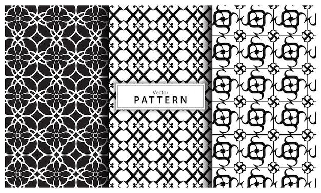 Conjunto de três fundo preto e branco padrão geométrico. linha abstrata, abstrato geométrico sem emenda Vetor Premium