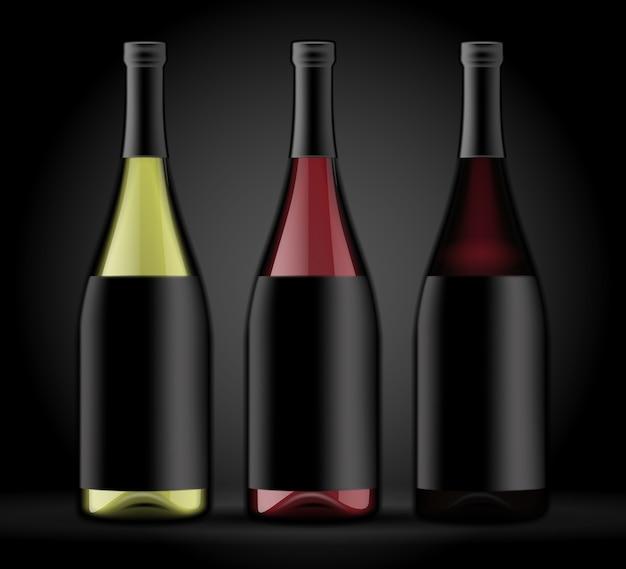 Conjunto de três garrafas de vinho em um fundo escuro. Vetor Premium