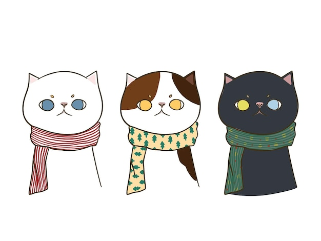 Conjunto de três gatos bonitos de doodle desenhado à mão, vestindo um lenço, isolado no fundo branco. Vetor grátis