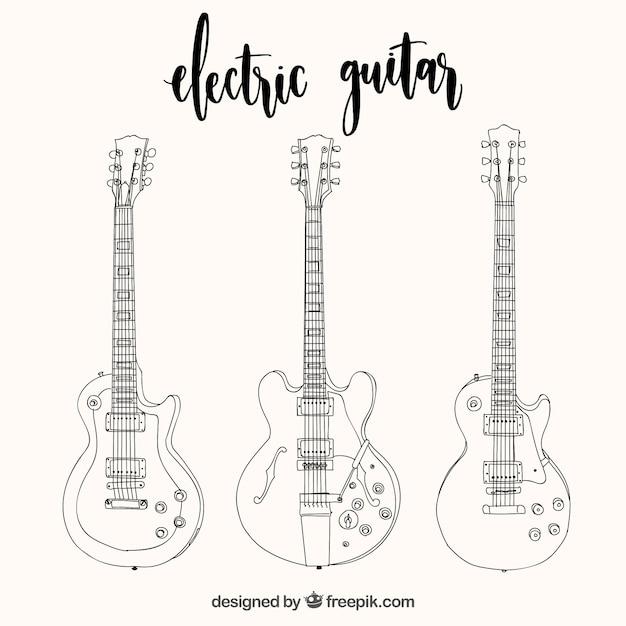 Conjunto de três guitarras elétricas em estilo desenhado à mão Vetor grátis