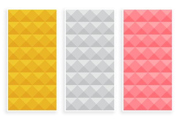 Conjunto de três padrões 3d de estilo diamante premium Vetor grátis