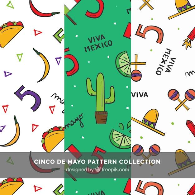 Conjunto de três padrões cinco de mayo com itens desenhados à mão Vetor grátis