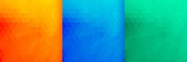 Conjunto de três padrões de triângulos de cores brilhantes Vetor grátis