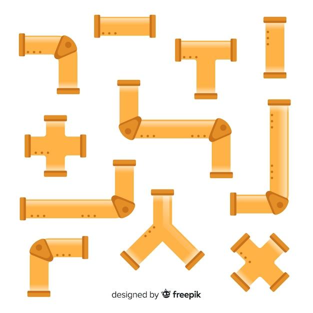 Conjunto de tubos de bronze em design plano Vetor grátis