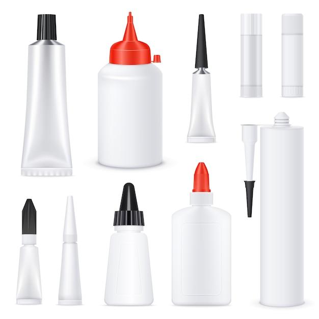 Conjunto de tubos de cola em branco realista Vetor grátis