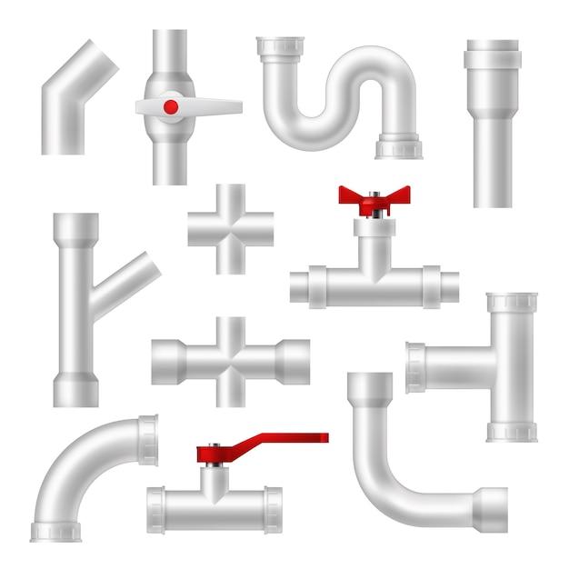 Conjunto de tubos e acessórios de canalização Vetor Premium