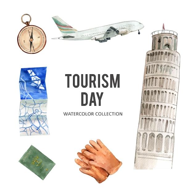Conjunto de turismo coleção design isolado aquarela ilustração Vetor grátis