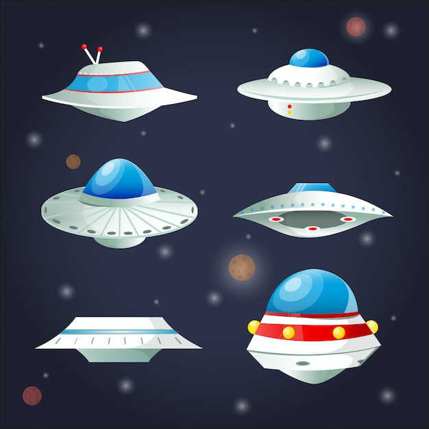 Conjunto de ufo. coleção de desenhos animados de nave espacial. Vetor Premium