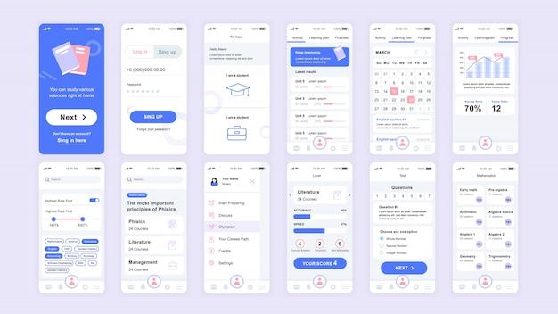 Conjunto de ui, ux, telas de gui educação app flat template Vetor Premium