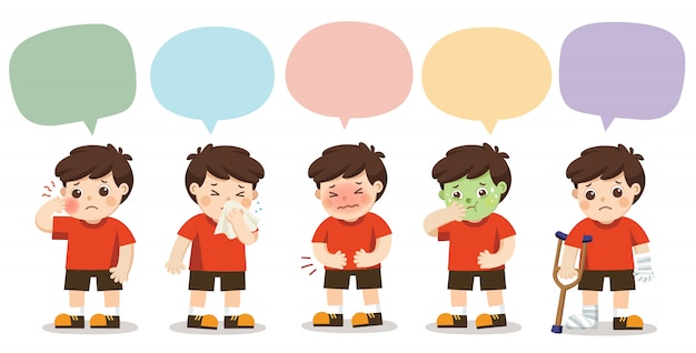 Conjunto de um menino ficar doente com quadro de discurso isolado no fundo branco. Vetor Premium