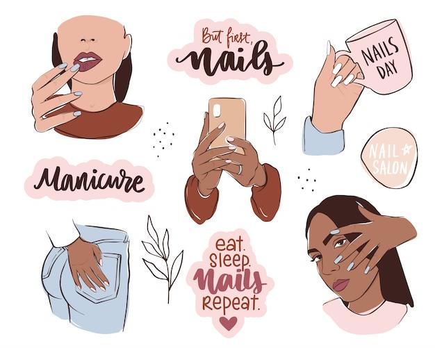 Conjunto de unhas e manicure. mãos femininas com cores de pele diferentes, segure o esmalte ou telefone. Vetor Premium