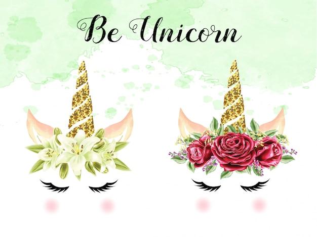 Conjunto de unicórnios de coroa de rosa e lírio aquarela Vetor Premium