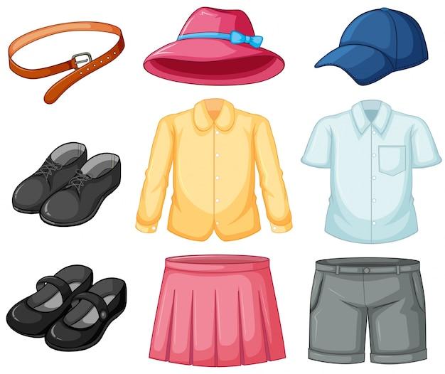 Conjunto de uniforme de menina e menino Vetor Premium