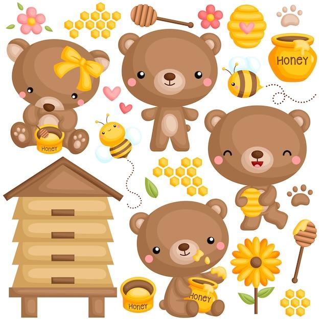 Conjunto de urso de mel Vetor Premium