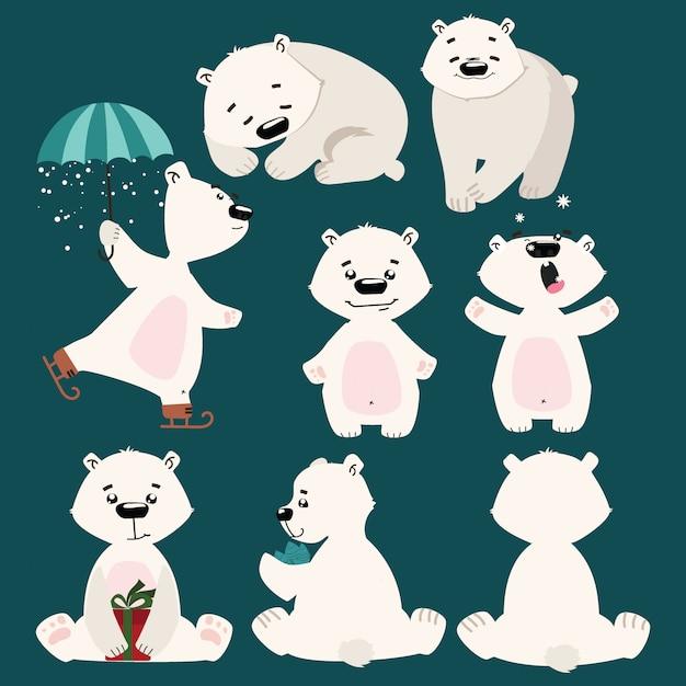 Conjunto de ursos polares. coleção de ursos polares dos desenhos animados. ilustração de natal para crianças. Vetor Premium