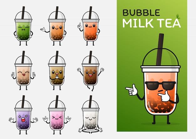 Conjunto de uso de personagem de chá de leite bolha bonito para ilustração ou mascote Vetor Premium