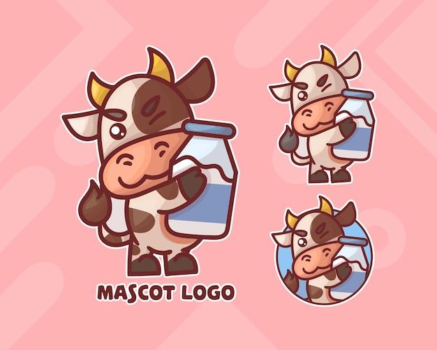 Conjunto de vaca fofa com logotipo do mascote do leite com aparência opcional. Vetor Premium