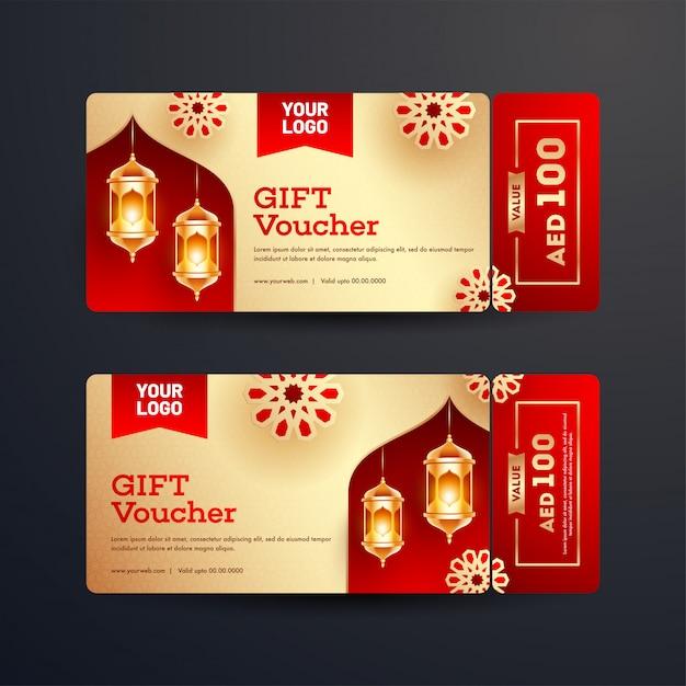 Conjunto de vale-presente ou layout de cupom com melhores ofertas e illumi Vetor Premium