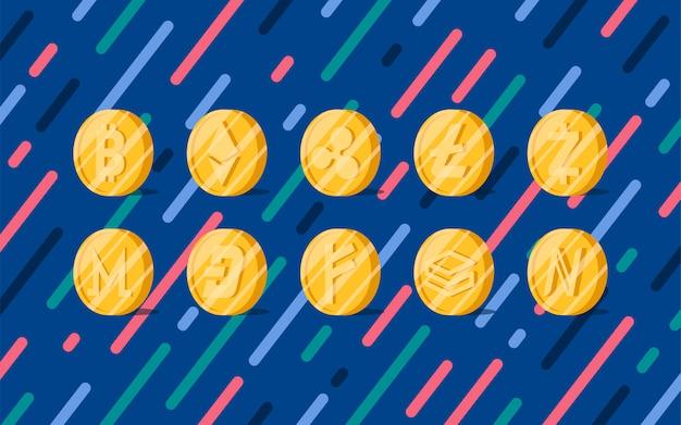 Conjunto de várias criptomoedas símbolo de dinheiro eletrônico Vetor grátis