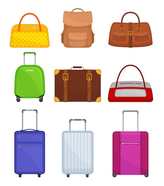 Conjunto de várias malas. malas de viagem sobre rodas, bolsa de mulheres, mochila, mochila. bagagem de viajante Vetor Premium