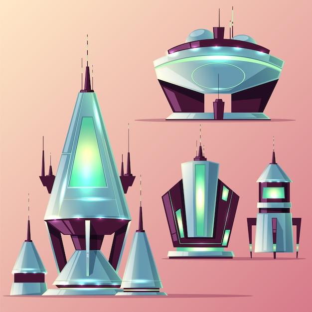 Conjunto de várias naves espaciais alienígenas ou foguetes futuristas com antenas, desenhos animados de luzes de néon Vetor grátis