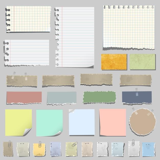Conjunto de várias notas de papel Vetor Premium
