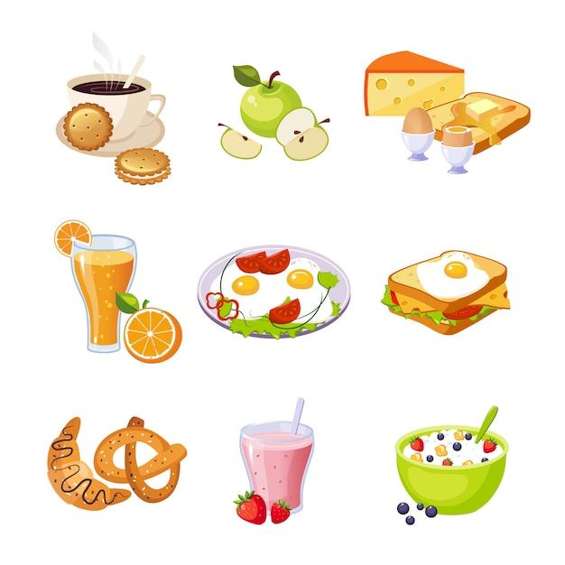 Conjunto de variedade de comida de café da manhã de ícones isolados Vetor Premium