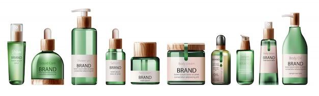 Conjunto de vários frascos de cuidados de saúde e spa verde. óleo corporal, loção, soro, gel de banho e perfume Vetor grátis