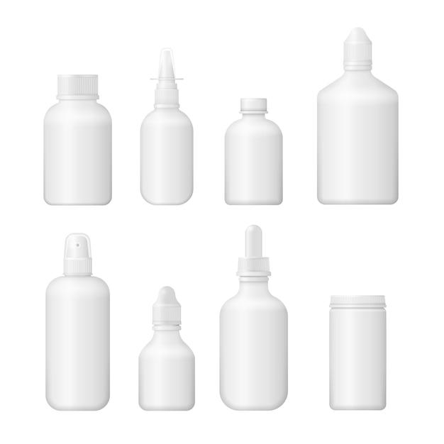 Conjunto de vários frascos médicos para medicamentos, comprimidos, comprimidos e vitaminas. caixa em branco médica 3d. design de embalagem de plástico branco. Vetor Premium