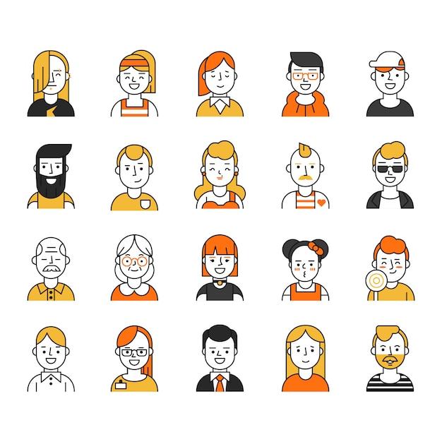 Conjunto de vários ícones de avatares no estilo de linha mono Vetor Premium
