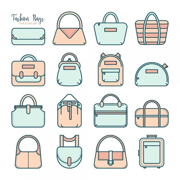 Conjunto de vários ícones de bolsa de moda de linha fina em quatro cores Vetor Premium