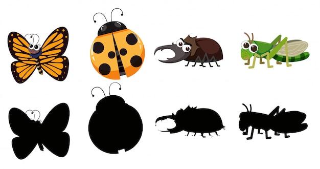 Conjunto de vários insetos Vetor Premium
