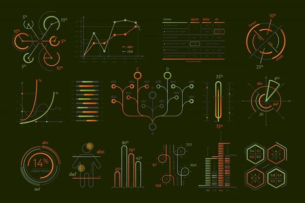Conjunto de vários negócios infográficos isolado Vetor Premium